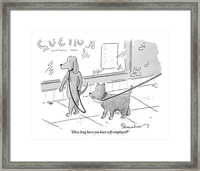 A Dog Being Walked On A Leash Asks A Dog Who Framed Print
