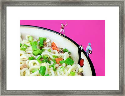 A Dog Chasing Postman Little People On Food Framed Print