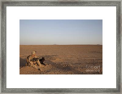 A Dog Handler With The U.s. Marine Framed Print by Stocktrek Images