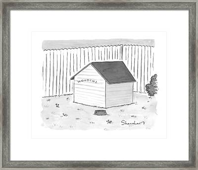 A Dog House With No Doors Is Seen With The Sign Framed Print