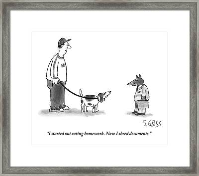 A Dog In A Business Suit Framed Print by Sam Gross