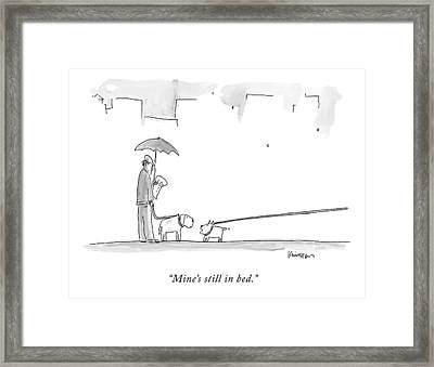 A Dog On A Very Long Leash Explains To Another Framed Print