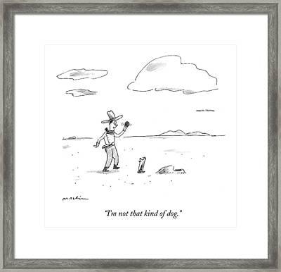 A Dog Refuses To Play Ball With A Cowboy Framed Print