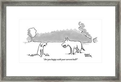A Dog Sits With A Ball At His Feet. Another Dog Framed Print