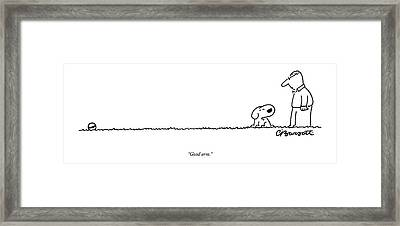 A Dog Speaks To A Man Framed Print