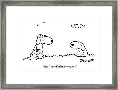 A Dog Talks To Another Dog Wearing Baseball Gear Framed Print