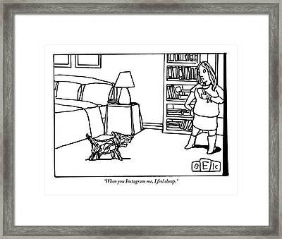 A Dog Talks To His Owner Framed Print
