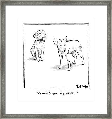 A Dog With Tattoos And A Mohawk  Hairstyle Speaks Framed Print by Matthew Diffee