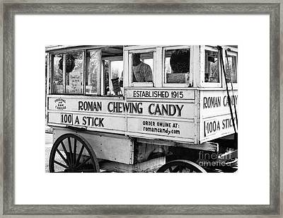 A Dollar A Stick Roman Chewing Candy In Bw Framed Print by Kathleen K Parker