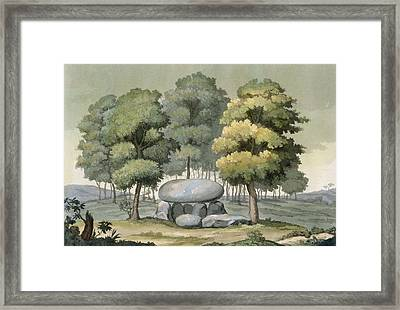 A Dolmen-type Passage Grave Of The Gauls Framed Print by G. Bramati