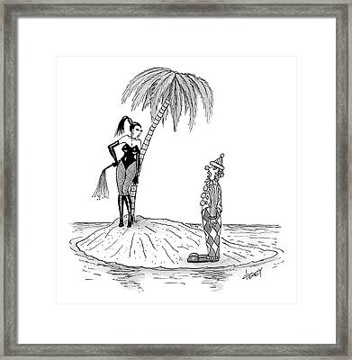 A Dominatrix Speaks To A Clown On A Small Desert Framed Print by Tom Cheney