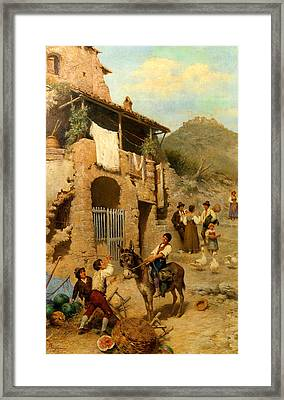 A Donkeys Reward Framed Print by Francesco Bergamini