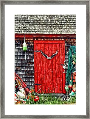 A Door In Maine Framed Print by Darren Fisher