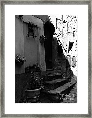A Door In Tuscany 2 Bw Framed Print by Mel Steinhauer