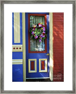 A Door Of Many Colors Framed Print by Mel Steinhauer