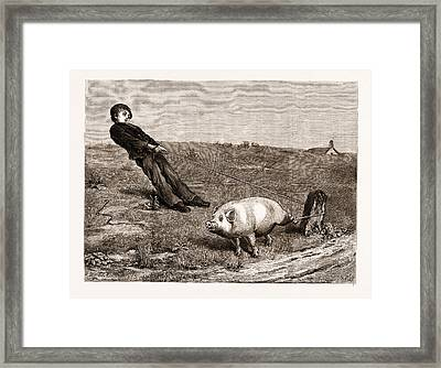 A Double Entendre, From The Painting By Briton Riviere Framed Print by Litz Collection