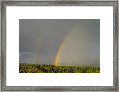 A Double Rainbow Near Durango Framed Print by Jeff Swan