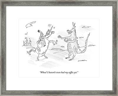 A Dragon Holds Cup Of Coffee And Speaks Framed Print
