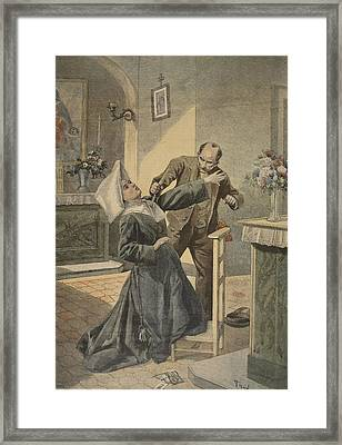 A Drama In An Asylum Assassination Framed Print by French School