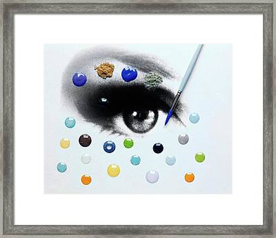 A Drawing Of An Eye With Colorful Contact Lenses Framed Print
