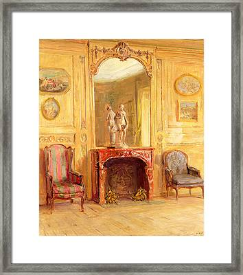 A Drawing Room Framed Print by Walter Gay