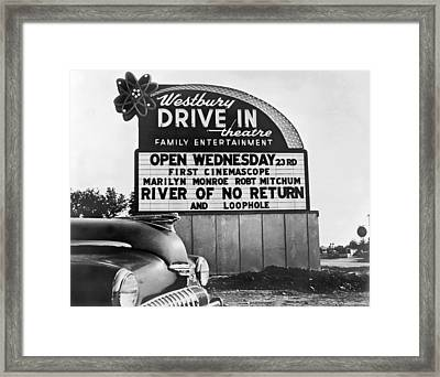 A Drive-in Theater Marquee Framed Print by Underwood Archives