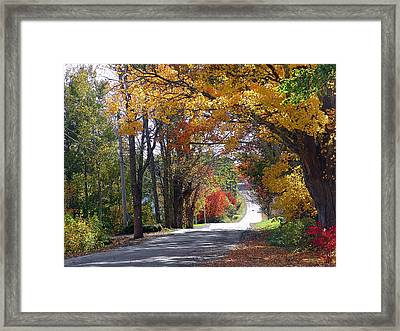 A Drive Through Autumn Beauty Framed Print by Janet Ashworth