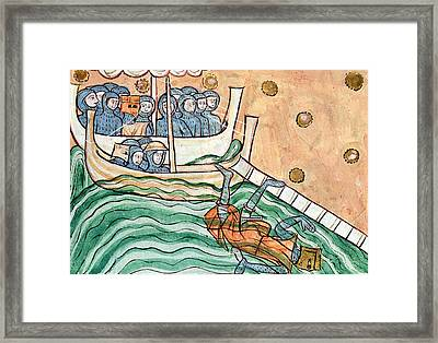 A Drowning Viking, Possibly Olav Trygvason 968-1000 Of Norway At The Battle Of Svold On 9th Framed Print
