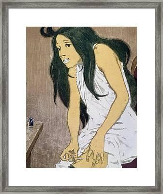 A Drug Addict Injecting Herself Framed Print by Eugene Grasset
