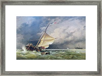 A Dutch Beurtman Aground Framed Print