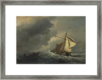 A Dutch Vessel In A Strong Breeze Framed Print