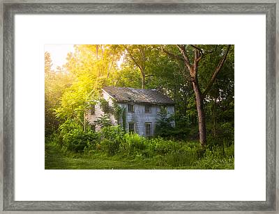 A Fading Memory One Summer Morning - Abandoned House In The Woods Framed Print by Gary Heller