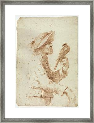 A Falconer In Profile To The Right Framed Print