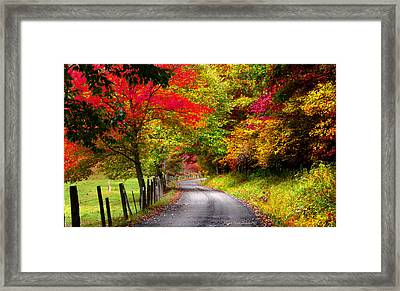 A Fall Journey Framed Print by Mike  Quesinberry
