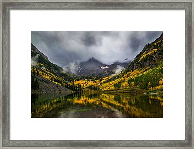 A Fall Morning At Maroon Bells Framed Print by Peter Irwindale
