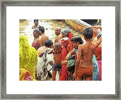 A Family Bathing In The Ganges River Framed Print by Digital Photographic Arts