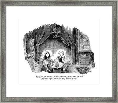 A Family Holds Hands In A Circle With A Psychic Framed Print