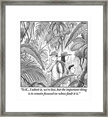 A Family Is Lost In The Depths Of A Jungle Framed Print