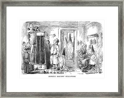 A Family Prepare To Partake Of  A Shower Framed Print by Mary Evans Picture Library