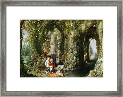 A Fantastic Cave With Odysseus And Calypso Oil On Canvas Framed Print