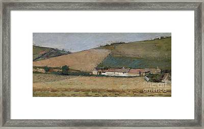 A Farm Among Hills Framed Print by Theodore Robinson