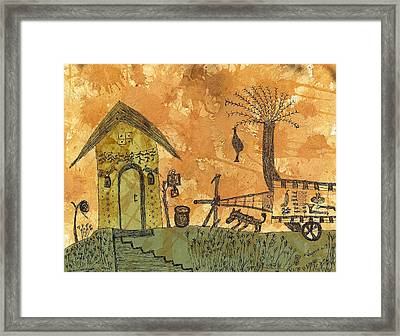 A Farm In India With Hut And Bull Cart Framed Print