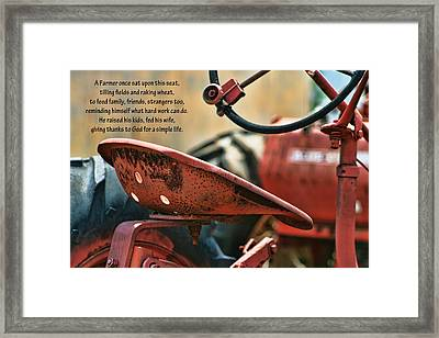 A Farmer And His Tractor Poem Framed Print