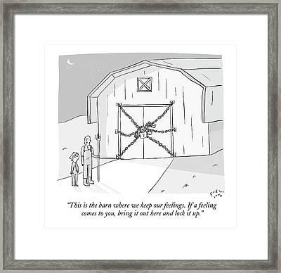 A Farmer Shows His Son A Barn That Is Locked Framed Print