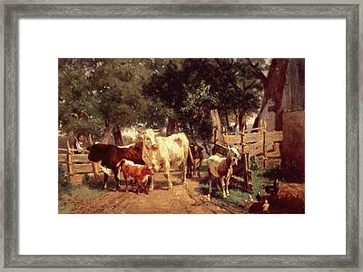 A Farmyard Scene Framed Print by Eduard Weichberger