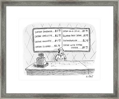 A Fast Food Employee Stands In Front Of A Menu Framed Print by Roz Chast