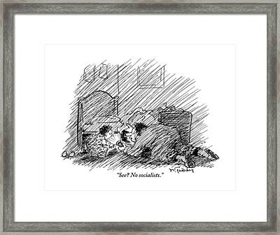 A Father And His Son Are Seen Looking Framed Print