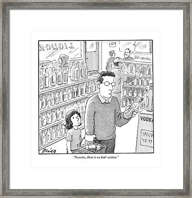 A Father, Bottle In Hand, Speaks To His Young Framed Print by Harry Bliss