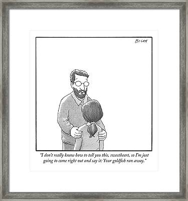 A Father Dressed In A Sweater And Glasses Framed Print
