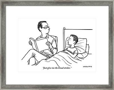 A Father Is Seen Reading A Book To His Son Who Framed Print